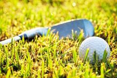 Golf ball in the grass, near a putter. - stock photo
