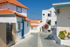 Color greek street, rhodes, greece Stock Photos