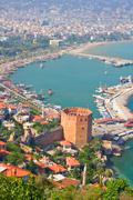 kizil kule (red tower), tourist attraction in the turkish city of alanya - stock photo