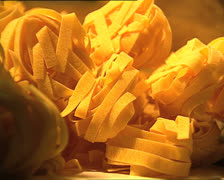 PASTA FACTORY tagliatelle close detail Stock Footage