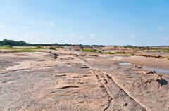 Ebb tide of khong river in sam pan bok, ubonratchathani, thailand Stock Photos