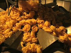 PASTA FACTORY tagliatelle machine full shot Stock Footage