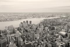 brooklyn skyline arial view from new york city manhattan black and white - stock photo