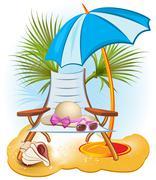 Seaside summer holiday background Stock Illustration