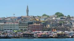 Open air kalaravintoloita Eminonu Istanbul, Turkki (Pääkirjoitus) Arkistovideo
