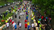 Stock Video Footage of Stockholm Marathon, time-lapse, drinking