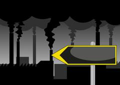pollution road sign - stock illustration