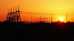 Sunset time lapse power station Stock Footage
