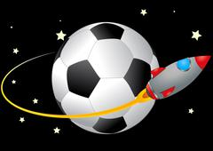 soccerball and spacecraft - stock illustration