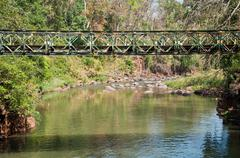 Metal bridge in the mountain at laos Stock Photos