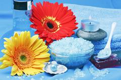 Spa products, and flowers Stock Photos