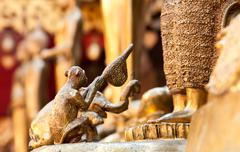 chiang mai, thailand - mar 17, 2012: the statue of a monkey and a elephent gi - stock photo