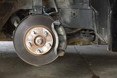 Front disk brake on car Stock Photos