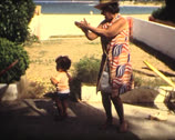 8MM dance kid and grandmother Stock Footage