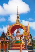 buddha statue in wat plai laem - stock photo