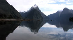 Mitre Peak at Milford Sound Stock Footage
