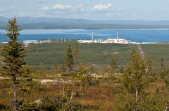 Kola nuclear power plant in the mountains vone hibiny Stock Photos