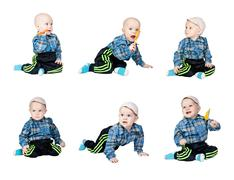 Collage a little boy in a plaid dress Stock Photos