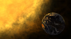 Planet Earth and glowing Sun, solar flare, global warming Stock Footage
