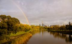 a fall day in melbourne. a great view of the city looking down the yarra rive - stock photo