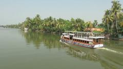 Kerala backwaters excursion boat s Stock Footage