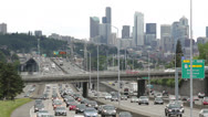 Stock Video Footage of City commuter traffic freeway cars driving skyline time-lapse