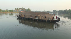 Kerala backwaters houseboat turns s - stock footage