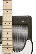 electric guitar fretboard and amplifier - stock photo