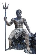 Sculpture poseidon god made from scrap metal on white background with work pa Stock Photos