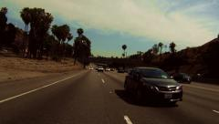 Stock Video Footage of driving POV 101 fwy los angeles freeway flowing traffic cars travel destination