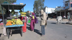 India street market in Rajasthan Stock Footage