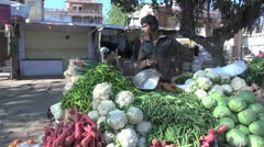 India cabbages in a market Stock Footage