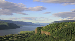 Columbia River Gorge with Clouds in Oregon Timelapse 1080p Stock Footage