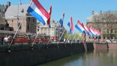 Dutch Flags in The Hague, Holland Stock Footage
