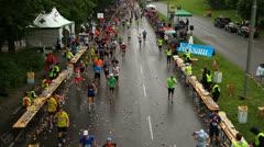 Stockholm marathon refreshing Stock Footage