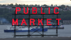 Seattle Public Market neon sign in the evening Stock Footage