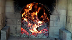kitchen fireplace at the cottage. - stock footage