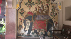 India Rajasthan Luni Chanwa mural with elephant and passengers 6 Stock Footage