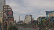 Stock Video Footage of Las Vegas Strip day New York Paris Planet Hollywood Nevada USA traffic street us