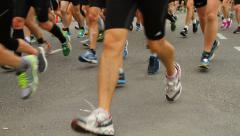 Close-up of Legs and shoes, Stockholm marathon Stock Footage