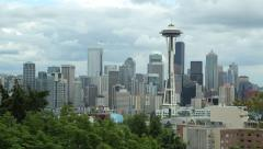 Seattle downtown city skyline buildings view Stock Footage