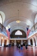 new york city ellis island great hall - stock photo