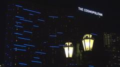 The Cosmopolitan Hotel and Casino by night,Las Vegas Strip, Nevada, SUA, America Stock Footage