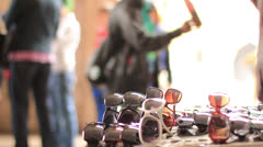 Sunglasses peddler Stock Footage