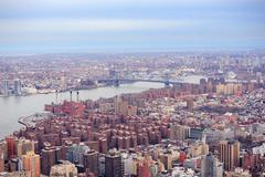 brooklyn skyline arial view from new york city manhattan - stock photo