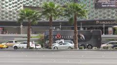 Traffic street and luxury shops by day, Las Vegas Strip, Las Vegas, Nevada, USA, - stock footage