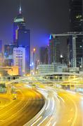 night in hong kong - stock photo