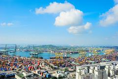 Singapore commercial port Stock Photos