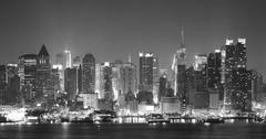 new york city nigth black and white - stock photo