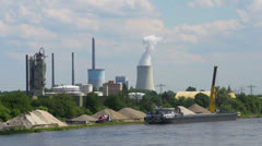 View on river, harbor, industrial area Stock Footage